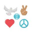 peace icon set vector image vector image