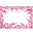 plum blossom branches horizontal frame vector image