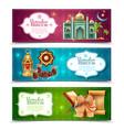 ramadan kareem 3 horizontal banners set vector image vector image