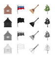 russia country attributes and other web icon in vector image
