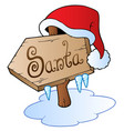 santa christmas sign with cap vector image vector image