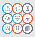 set of 9 social network icons includes unfollow vector image vector image