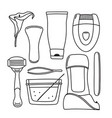 set of hand-drawn hair removal depilation tools vector image