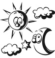 sun moon cloud and star - black outline vector image