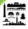 Taiwan Taipei landmark silhouettes vector image vector image
