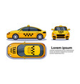 taxi car on white background isolated top side vector image