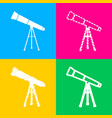 telescope simple sign four styles of icon on four vector image