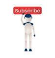 the robot presses the red button subscribe on a vector image