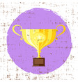 trophy cup flat icon with star with grunge vector image vector image