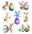 variety easter rabbits set vector image vector image