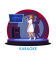 woman karaoke singer performing on stage vector image vector image