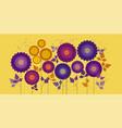 yellow sunny decorative chrysanthemum banner vector image vector image