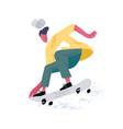 young faceless skateboarder riding skateboard vector image
