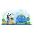 young male and female characters are hitchhiking vector image