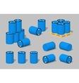 Cube World Blue plastic barrels vector image