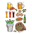 hand drawing beer set vector image
