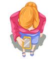 A topview of a girl using a cellphone vector image vector image