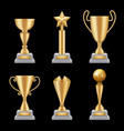 award trophies realistic golden cup sport success vector image