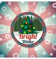 Badge with cute christmas new year tree pine vector image