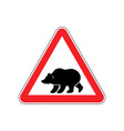 bear warning sign red predator hazard attention vector image vector image