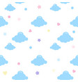 blue cloud with star heart seamless vector image