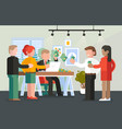 boss paying salary to his workers or employee vector image vector image
