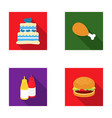 cake ham sauce burger fast foodset set vector image