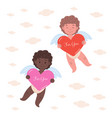 card with two cupids with big hearts vector image vector image