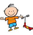 cartoon little boy with scooter vector image vector image