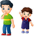 cartoon older brother with his younger brother vector image vector image