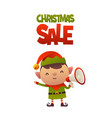 cheerful cute cartoon elf with megaphone and text vector image vector image