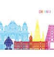 Chennai skyline pop vector image