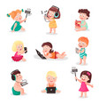 children watching listening photographing and vector image vector image