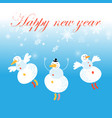 christmas card with snowmen and snowflakes vector image