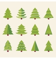 Christmas tree set with decoration happy new year vector image vector image