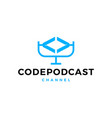 code podcast logo icon for web software coding vector image vector image
