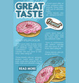 donut bakery dessert retro sketch poster template vector image