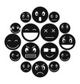 emoticon icons set simple style vector image