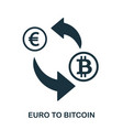 euro to bitcoin icon mobile app printing web vector image