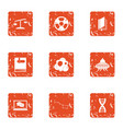 fantasy icons set grunge style vector image vector image