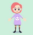 Flat cute girl character design vector image