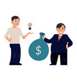 flat man with bag with dollars vector image