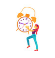 flat woman holding table clock smiling vector image vector image