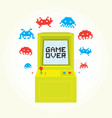 game over sign on retro arcade game machine vector image vector image