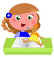 girl reading pinocchio book vector image