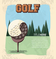 golf club label with ball vector image