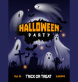 halloween ghost party night cemetery background vector image
