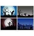 happy halloween banner set with zombies party vector image