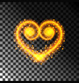 heart light effect with sparks golden vector image vector image