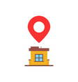 home location with red pin marker vector image vector image
